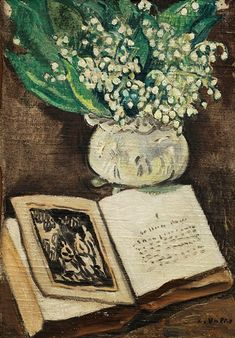 Flowers with Book by Louis Valtat (1869-1952), French artist associated with the Fauves (mutual art)