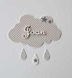 Plaque de porte décorée avec du tissu. Couleur Brume étoiles grises. CRÉATION UN AIR DE BOHÈME.