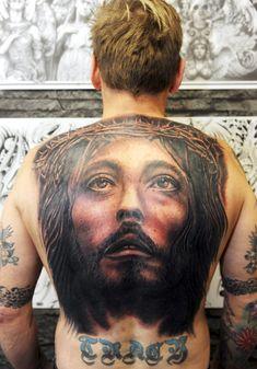jesus full back tattoo - 20 Holy Jesus tattoos Holy Tattoos, Best 3d Tattoos, Bad Tattoos, Jesus Tattoo Sleeve, Sleeve Tattoos, Who Is Jesus, Crucifixion Of Jesus, Full Back Tattoos, Tattoo Motive