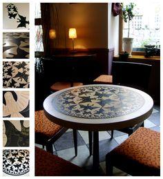 "stol dla Czekoladowni w Gdansku  wg grafiki M.C. Escher'a ""granica kola IV"" ///table 4 by karolina-g.deviantart.com on @deviantART"