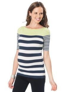 A Pea in the Pod Collection: Bailey 44 Elbow Sleeve Boat Neck Rib Knit Maternity Top