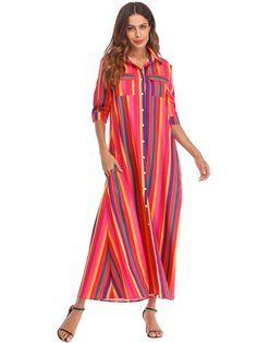 88ee5e20aa7 LELINTA NEW Rainbow Stripes Women  Button Closure Shirt Dress With Pockets  Beach Long Dress Women