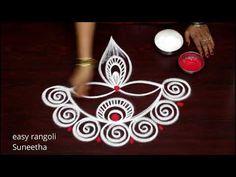 Simple Rangoli Designs Images, Rangoli Designs Diwali, Rangoli Designs With Dots, Rangoli With Dots, Simple Flower Design, Simple Flowers, Flower Designs, Lotus Rangoli, Diya Rangoli