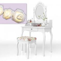 Set Masa alba toaleta cosmetica machiaj oglinda masuta vanity @ http://lovelydeco.ro/cele-mai-frumoase-masute-de-toaleta-pentru-cosmetica-si-machiaj/