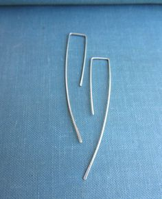 Tiny sterling silver long wire earring minimal modern by lunahoo