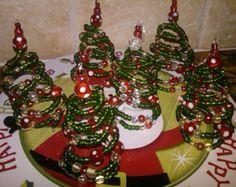 Christmas Ornament Beaded Christmas Tree Wire by WildWomanJewelry