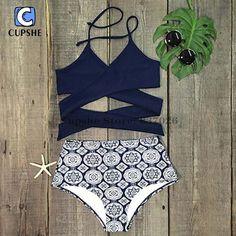 Cupshe Point Me at the Sky Cross Bikini Set Women Summer Sexy Swimsuit Ladies Beach Bathing Suit swimwear