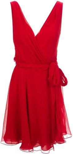 Ralph Lauren Blue Label Red Waist Tie Wrap Dress