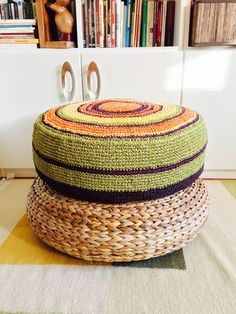 Found on zet.com. Cute crochet puff from eldoku, Turkey Floor Cushions, Cute Crochet, Outdoor Furniture, Outdoor Decor, Upcycle, Ottoman, Recycling, Flooring, Fabric