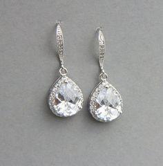 Crystal Teardrop Earrings Bridal Earrings by LavenderByJurgita