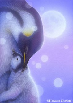 Emperor Penguin - Painting Art by Kentaro Nishino - Nature Art & Wildlife Art - Airbrushed Wildlife Art. Penguin Art, Guache, Watercolor Animals, Vintage Artwork, Wildlife Art, Cute Illustration, Large Art, Bird Art, Animal Drawings