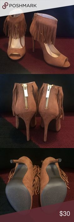 "FRINGE HEELS New; never worn; faux suede; camel color; gold zip back; open toe; 4.25"" heel; comes with original box Qupid Shoes Heels"