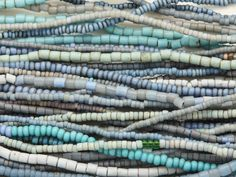 Assorted Small Blue Glass Trade Beads - 4 Strands (AT7149)