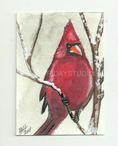 Items similar to Aceo Original Acrylic Painting Cardinal In Winter Art Card on Etsy Christmas Canvas, Christmas Paintings, Christmas Art, Christmas Ideas, Bird Paintings On Canvas, Watercolor Paintings, Cardinal Paintings, Wine Painting, Painting & Drawing