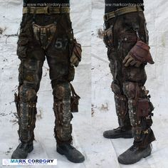 Post Apocalyptic  style LARP trousers with greaves made by Mark Cordory Creations www.markcordory.com