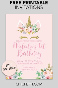 New Snap Shots Birthday Invitations free printable Style Do you know that you will discover over 31 , 000 a few moments around one full year? Free Printable Invitations Templates, Free Printable Birthday Invitations, Diy Party Invitations, Free Printables, Party Printables, Unicorn Themed Birthday Party, Unicorn Birthday Invitations, Diy Unicorn Party, 7th Birthday