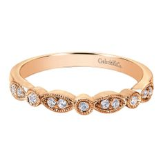 Rose gold Victorian curved wedding band from Gabriel &Co. More #RoseGold #WeddingBands from #GabrielCo at Redford Jewelery and Coin in Plymouth, MI.