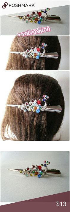 """LARGE PEACOCK HAIR CLIP! Beautifully colored jeweled peacock on a silver clip. Length is 5"""" by 1/2"""" wide at the widest end. vabfashion Accessories"""