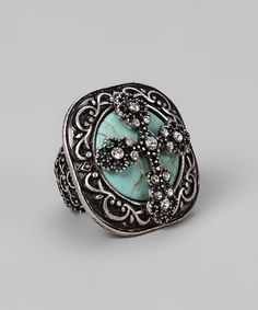 Turquoise Cross Stretch Ring - Gabriel Jewelry - Originally 46 but $21.99 on zullily
