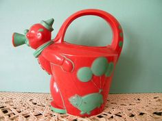 Vintage Clown and Pig Plastic Watering Can Rosbro Plastics