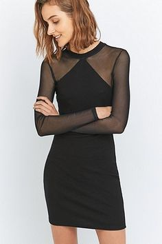Sparkle & Fade Black Mesh and Jersey Bodycon Dress - Urban Outfitters