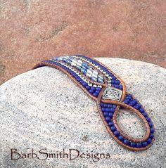 Blu argento perline bracciale di cuoio di BarbSmithDesigns su Etsy