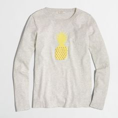 J.Crew Factory pineapple intarsia sweater ($55) ❤ liked on Polyvore featuring tops, sweaters, intarsia sweater, j crew tops, long sleeve cotton tops, pineapple print top and j crew sweaters