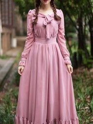 Pink Bow Tie Back Ruffle Hem Empire Maxi Dress - Olivia Maxi Dresses Modest Dresses, Trendy Dresses, Women's Fashion Dresses, Hijab Fashion, Casual Dresses, Maxi Dresses, Estilo Cool, Mode Abaya, Vetement Fashion