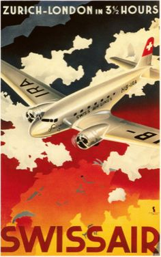 Swissair, vintage travel poster, showing airplane over outline map of Switzerland