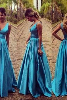 Sexy V-neckline Evening Dresses,Blue Backless Formal Dress,Prom Dresses