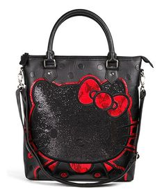 Take a look at this Black Embossed Polka Dot Glitter Tote by Hello Kitty on #zulily today!