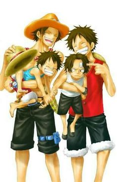 Luffy and Ace from One Piece holding their younger selves~ So adorable - One Piece Ace, One Piece Manga, One Piece Seasons, One Piece Comic, One Piece Fanart, One Piece Luffy, Manga Anime, Susanoo Naruto, Ace Sabo Luffy