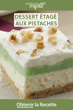 pistachio dessert Go green for St. Patricks Day with this lovely little layered dessert. Click or tap photo for this easy Pistachio Layered Dessert Pistachio Dessert, Pistachio Recipes, Pistachio Pudding, Summer Desserts, Easy Desserts, Dessert Recipes, Pretzel Desserts, Dessert Simple, Layered Deserts