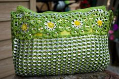 Upcycled+Citrus+Green+with+Gold+Crochet+Pop+Tab+Purse+by+Flor7,+$70.00