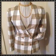David Hollis Blazer Beautiful cream/tan fitted double breasted blazer. Fully lined. David Hollis Jackets & Coats Blazers