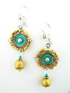 Jeweled shields in sterling silver with enamel by VanessaMellet, $155.00