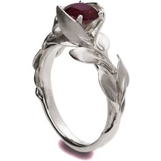 Leaves Ruby Ring, 18K White Gold and Ruby engagement ring, unique... ($2,630) ❤ liked on Polyvore featuring jewelry, rings, vintage engagement rings, ruby ring, antique vintage rings, antique ruby rings and 18k white gold ring
