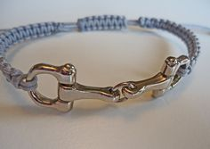 Delicate Classic Silver Toned Metal Equestrian Horse Bit Macrame Bracelet with Light Grey Cording.