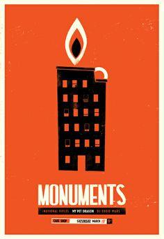 Chris Delorenzo - Monuments - 2 color silkscreen - 2011