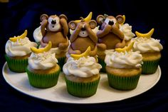 hear no evil, see no evil and definitely speak no evil with a mouth full of cupcakes!