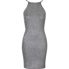 **Bodycon Dress by Oh My Love (390 DKK) ❤ liked on Polyvore featuring dresses, short dresses, vestidos, silver, bodycon dress, going out dresses, short party dresses and short cocktail party dresses