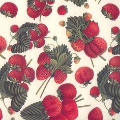 Strawberries and Leaves Italian Paper ~ Tassotti