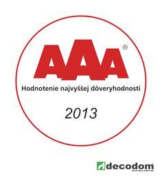 Certifikát AAA - Najvyššia dôveryhodnosť spoločnosti Decodom, spol. s r.o. [ Certificate AAA - Best credibility for company Decodom ]
