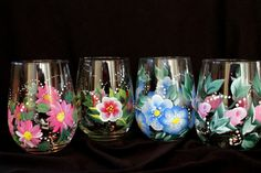 Spring Floral Wine Glasses, hand painted  Great for Bridal Shower  Favors, Mother's Day  Gifts , Birthday Gifts Set of 4 on Etsy, $54.00