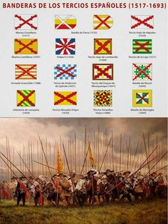 Email me if you know what country has these flags in its history or herstory . Spain History, World History, Military Art, Military History, Military Tactics, Renaissance, Conquistador, Thirty Years' War, Landsknecht
