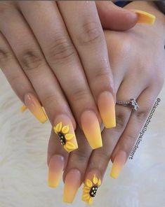 Yellow Nails Design, Yellow Nail Art, Blue Nail, Color Yellow, Cute Acrylic Nail Designs, Best Acrylic Nails, Bright Summer Acrylic Nails, Colorful Nail, Easy Nail Art Designs