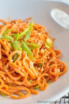 -- 4 Stars: served room temp and added cuke noods. -- Sesame Sweet Potato Noodles - The Organic Dietitian Sweet Potato Recipes, Veggie Recipes, Whole Food Recipes, Vegetarian Recipes, Dinner Recipes, Cooking Recipes, Healthy Recipes, Sweet Potato Spiralizer Recipes, Korean Sweet Potato