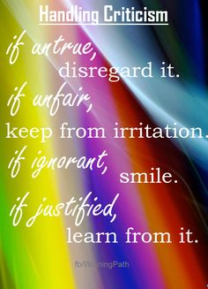 Four ways to handle criticism - disregard - keep from irritating you - smile learn.