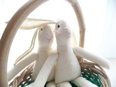 Bunny Dolls, Rabbit Dolls, Muslin Bunny Dolls, Easter, Muslin Rabbit Dolls - 13 inches - set of 2
