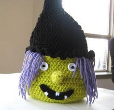 #Crochet  #Pattern #Halloween #Witch #Basket